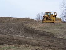Bull dozer. At a contruction site Stock Photography