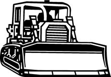 Bull Dozer Illustration. Line Art Illustration of a Bull Dozer Royalty Free Stock Photos