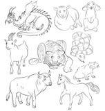 Bull, dragon, goat, horse, rabbit, rat, sheep, snake, tiger Stock Image