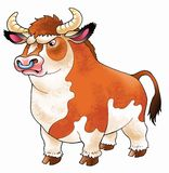 Bull drawing cartoon funny serious horns Stock Images