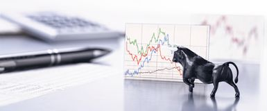 Bull is driving the development of stock market prices royalty free stock photo