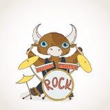 Bull drummer. Doodle rock animal. Stock Image