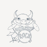 Bull drummer. Doodle rock animal. Royalty Free Stock Photo