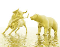 Bull e urso Fotografia de Stock Royalty Free