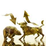 Bull e urso Imagem de Stock Royalty Free