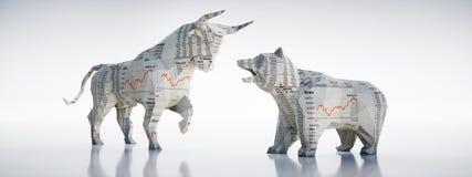 Bull e urso de papel - mercado de valores de ação do conceito ilustração do vetor
