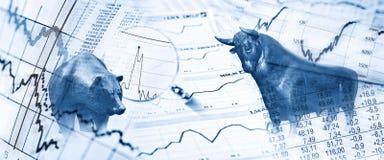 Bull e urso e símbolos de ações fotos de stock