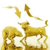 Bull ed orso Immagini Stock