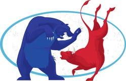 Bull ed orso - mercato azionario Fotografia Stock Libera da Diritti