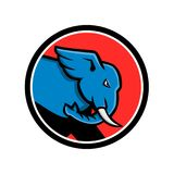 Bull Elephant Head Charging Circle. Mascot icon illustration of head of a bull elephant with big tusk about to charge or charging set inside circle viewed from stock illustration