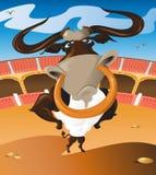 Bull en el anillo ilustración del vector