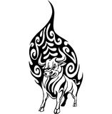 Bull en el estilo tribal - imagen. Fotos de archivo
