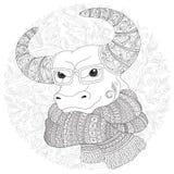 Bull en una bufanda y vidrios stock de ilustración