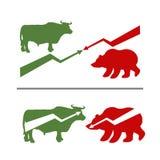 Bull et ours Hausse et chute des valeurs Taureau vert Ours rouge Photos libres de droits