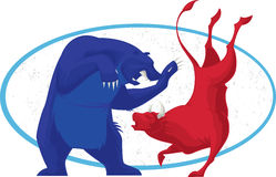 Bull et ours - marché boursier Photo libre de droits