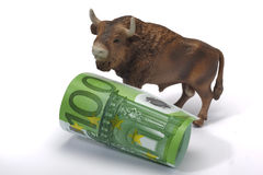 Bull and euro. Money banknote Royalty Free Stock Images