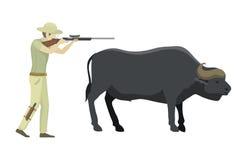 Bull farm animal safari hunter standing vector illustration. Royalty Free Stock Photography
