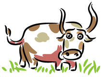 Bull in a Field. Line art funny cartoon image Stock Images