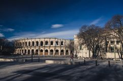 Bull fighting arena in Nimes, France Royalty Free Stock Image