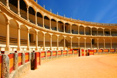 Bull fighting arena ronda. Yellow bull fighting arena in Ronda, Andalucia, Spain, no bulls Stock Images