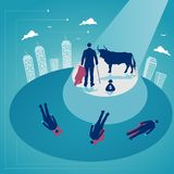 Bull is fighting with businessman. Business challenge. Business concept vector illustration. Vector illustration of business challenge Royalty Free Stock Photography