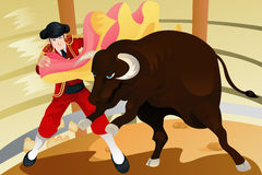 Bull fighting matador Stock Images