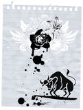 Bull and flower. Jpeg and vector illustration with bull and flower on the paper Stock Image