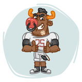 Bull Football Player Angry Shows Thumbs Up Stock Image