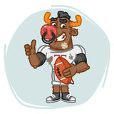 Bull Football Player Holds Ball Shows Thumbs Up Stock Photography