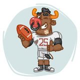 Bull Football Player Holds Ball Shows Thumbs Up and Winks Royalty Free Stock Photos