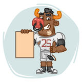 Bull Football Player Holds Paper and Shows Thumbs Up Stock Photography