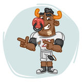 Bull Football Player Indicates Two Fingers Royalty Free Stock Photo
