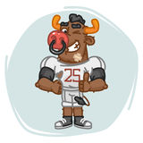 Bull Football Player Shows Finger Up and Winks Royalty Free Stock Image