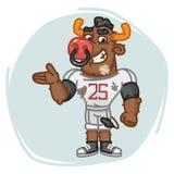Bull Football Player Shows Stock Image