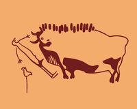 Bull, frightened man and weft Stock Images