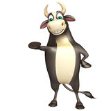 Bull funny cartoon character. 3d rendered illustration of Bull funny cartoon character Stock Photo