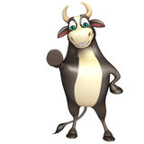 Bull funny cartoon character. 3d rendered illustration of Bull funny cartoon character Royalty Free Stock Photos