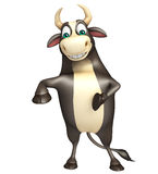 Bull funny cartoon character. 3d rendered illustration of Bull funny cartoon character Royalty Free Stock Images