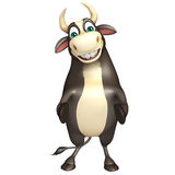 Bull funny cartoon character. 3d rendered illustration of Bull funny cartoon character Royalty Free Stock Photography