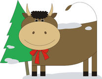 Bull with a fur-tree 2 Royalty Free Stock Photos
