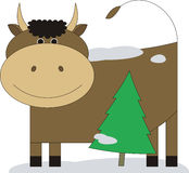 Bull with a fur-tree 3 Stock Photo