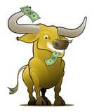 Bull giallo come giocatore del mercato azionario royalty illustrazione gratis