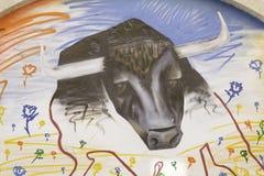 Bull graffiti Wall Stock Photo