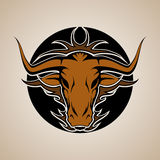 Bull Graphic Mascot Head with Horns. Vector Royalty Free Stock Images