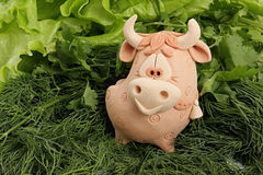 A bull is in greenery. On an east calendar 2009 year - year of bull Stock Photo