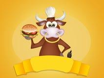 Bull with hamburger Stock Photo