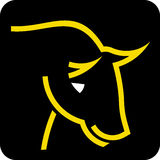 Bull head. Simple icon illustration of a bull head in white and yellow vector illustration Royalty Free Stock Photography