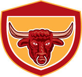Bull Head Front View Crest Retro Stock Photos