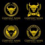 Bull Head Gold Heraldic Concept Logo Stock Photo