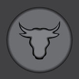 Bull head on the grey background. silhouette. stock  Stock Images
